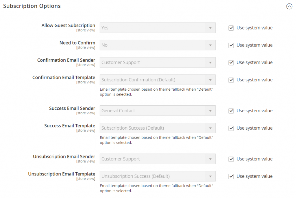 Subscription Options Of Newsletter in Magento 2