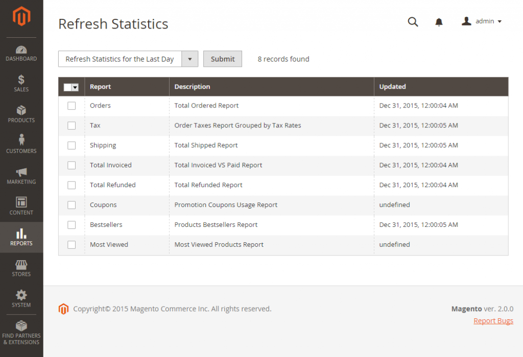 Refresh Statistics in Magento 2
