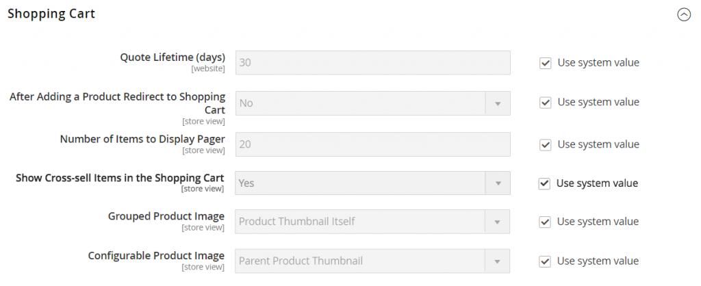 Shopping-cart-magento-2-settings